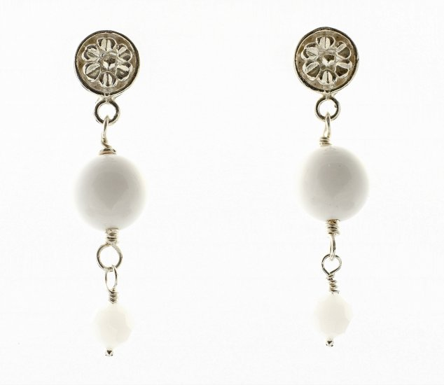 POST Hanging EARRInGs White & Sterling Silver