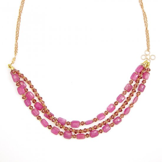 Pink Oblong Sapphire Necklace 2