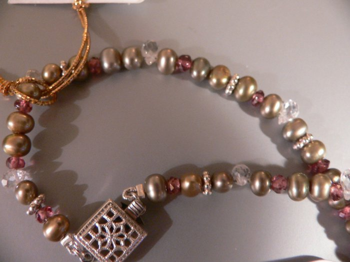 Necklace of Pearls, Garnets & Topaz