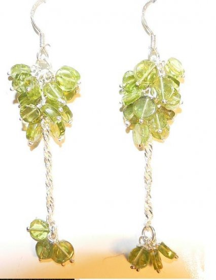 Peridot and Sterling Silver Dangle Earrings