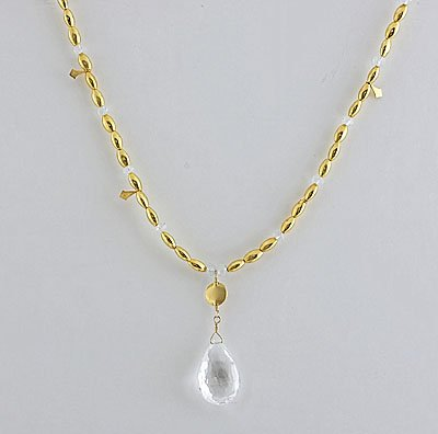 18k Gold & White Topaz Brilolette Drop Necklace