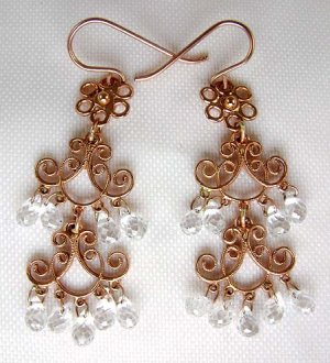 Pink Gold Filigree Earrings with White Topaz Droplets