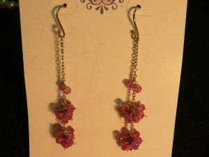Pink Sapphires Cluster Earrings