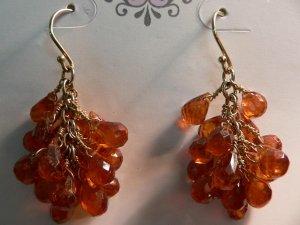 Mandarin Garnet Clusters on 18k Gold Ear Wires