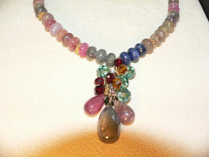 Peruvian Sapphire Cluster Necklace