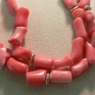 Pink Coral and 14k Yellow Gold Necklace