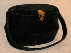 Vintage Bienen Davis Black Velvet Box Bag