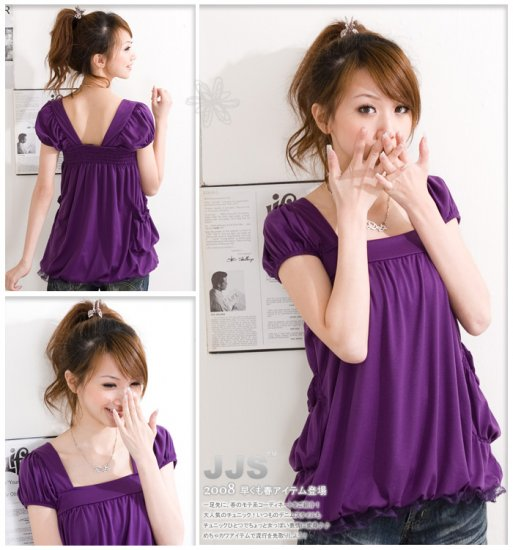 Baby Doll Shrinking Back Blouse - Purple