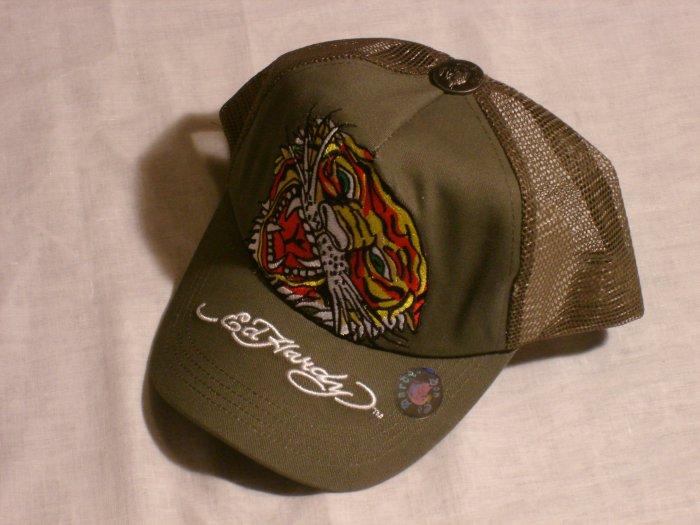 "ED HARDY TIGER TRUCKER HAT ""OLIVE"""