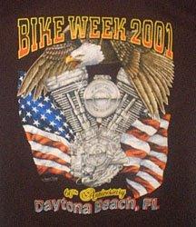 Collectible Bike Week T Shirt 2001 Black Medium FREE SHIP