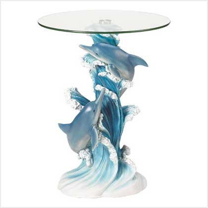 PLAYFUL DOLPHINS ACCENT TABLE - Code: 38425