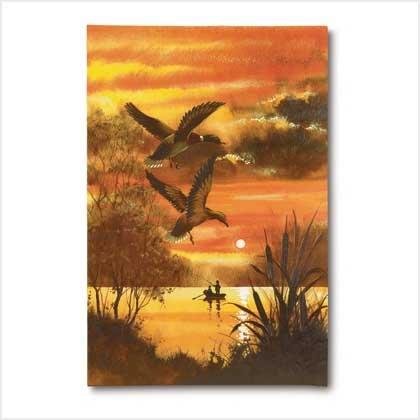 Ducks over Lake - Canvas on wood frame - Code: 38411