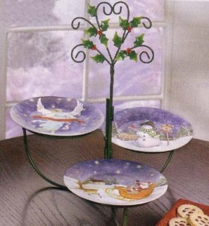 Christmas Dessert Plates/Rack - 4 Pc - Code: 35747