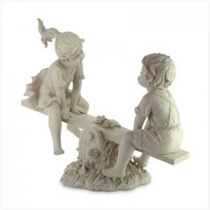 Boy & Girl On See-Saw, Alabastrite - Code: 34750