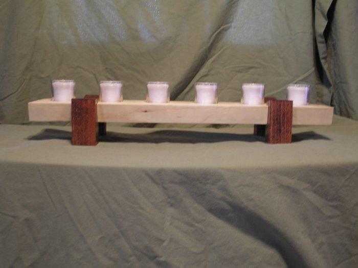 Handcrafted Wooden 6 Votive Candle Holder