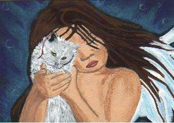 """THE CAT GUARDIAN"" ORIGINAL OOAK ACEO"