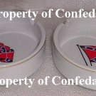 Confederate Ashtray Set Waving Flag Fine Porcelain Gold Trim Ashtray Set NEW