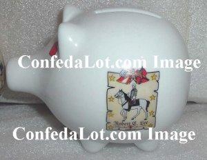 Robert E Lee Confederate Flag Fine Porcelain Piggy Bank NEW