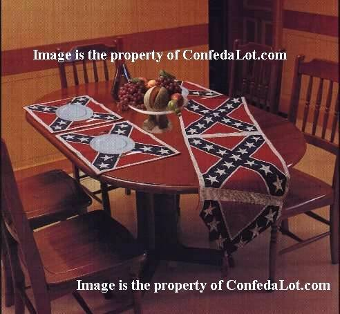 Confederate Flag Table Runner With Six Placemats Set NEW
