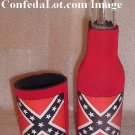 Can and Bottle Koozie Coolie Set Insulated RED NEW Keeps Beverages cold or hot Confederate
