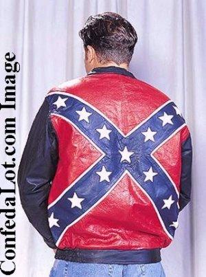 WHOLESALE Confederate Flag Leather Bomber Style Jacket SIZE MEDIUM