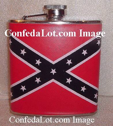 LEATHER Hip Flask Confederate Stainless Steel Hip Flask NEW Red