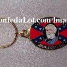 Robert E Lee Solid Brass n Enamel Engraved Keychain NEW