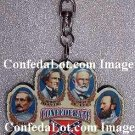 CSA Confederate Commanders Carved Wood Full Color Key Chain Features All Commanders - Antique Style
