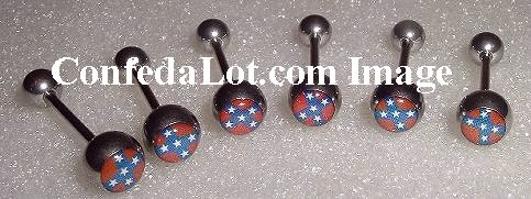 50 Confederate Flag BarbeLL Body Jewelry Surgical Grade Stainless Steel NEW