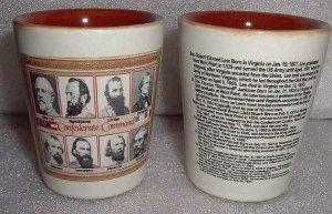 2 Civil War Confederate Commanders Shot Glasses High End Quality  Porcelain NEW