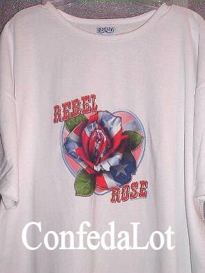Ladies Confederate Rebel Rose Long Lounge Shirt Nitey Shirt Beach Shirt  NEW
