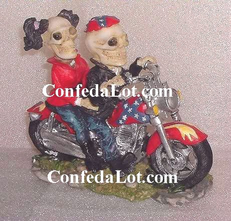 ReBeL Skull and Bone Bikers - Male and Female Skeletons on their Motorcycle NEW Very Unique style1