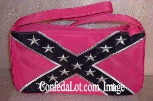 Ladies Purse Confederate Flag Hot Pink Fine Embroidered Ladies Purse with Strap - NEW Hot Pink