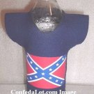 Confederate Koozie Coolie Shaped like a Tee Shirt Jerzee - for Bottles Cans - Very Unique NEW BLUE