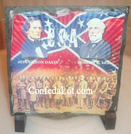 Confederate Jefferson Davis Robert E Lee Square Slate with stand NEW - This is REAL SLATE