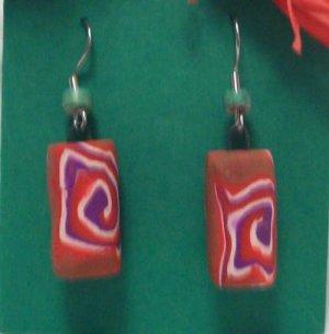 Tan swirly bead earrings