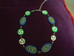 Blue swirly necklace