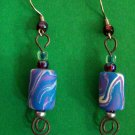 Blue swirl bead earrings