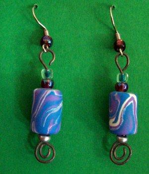 Blue swirl bead earrings