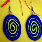 Blue swirly disk earrings