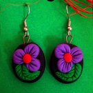 Round purple flower disk earrings