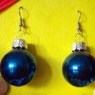 Blue glass Christmas ball ornament earrings
