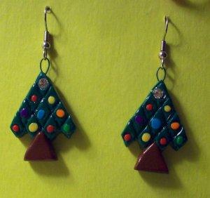 Christmas Tree Earrings, small drk green