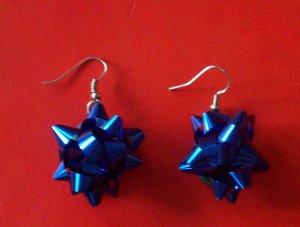 Blue Christmas bow earrings