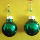 Green Christmas ball  glass earrings