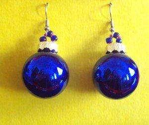Cobalt Christmas ball glass earrings