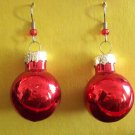 Red Christmas ball glass earrings