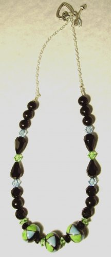 BLACKSTONE NECKLACE WITH GREEN & BLUE ACCENTS