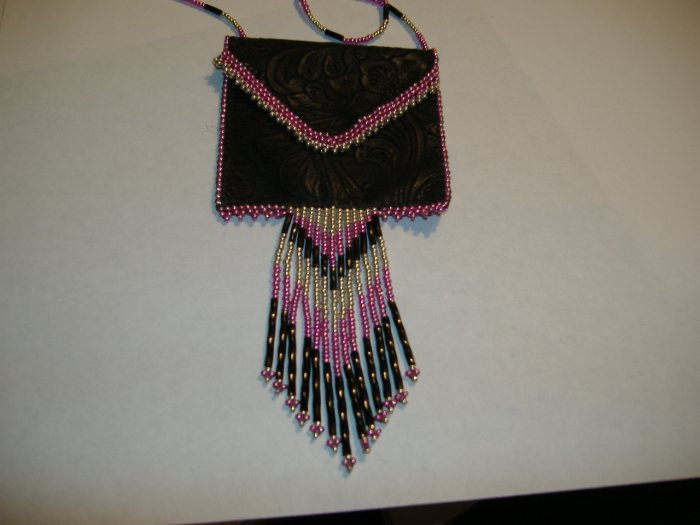 Pink and Silver Beaded Embossed Faux Leather Amulet Bag
