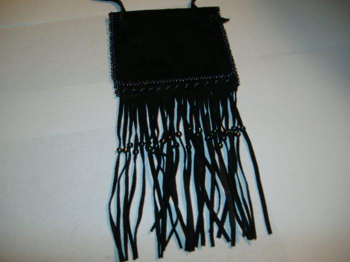 Large Black Leather Medicine/Amulet Bag